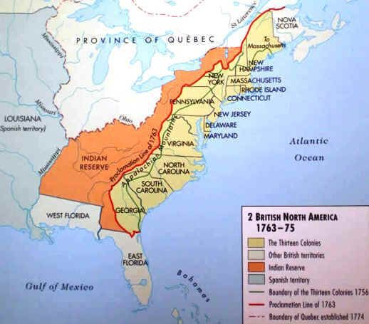 After 1763, although the British claimed a large portion of North America, the Proclamation Line of 1763 prohibited American colonists from moving into Native territories west of the Appalachian mountains.  The British colonists, who had fought alongside the British in the war, were not happy with this limitation.