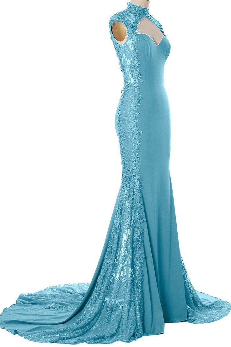 Amazon.com: MACloth Women Mermaid High Neck Beaded Lace Jersey Long Formal  Evening Gown