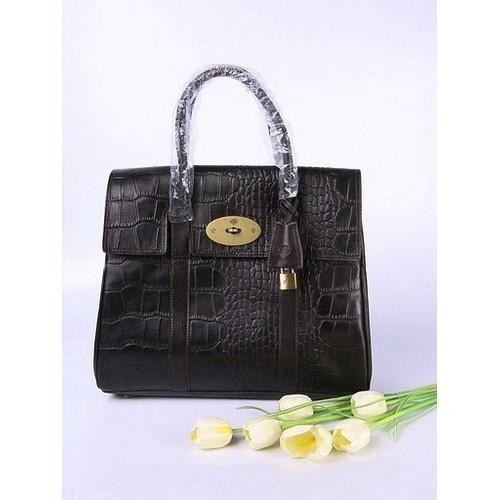 Durable Mulberry Bayswater Crocodile Leather 6833_393 Dark Coffee Handbag