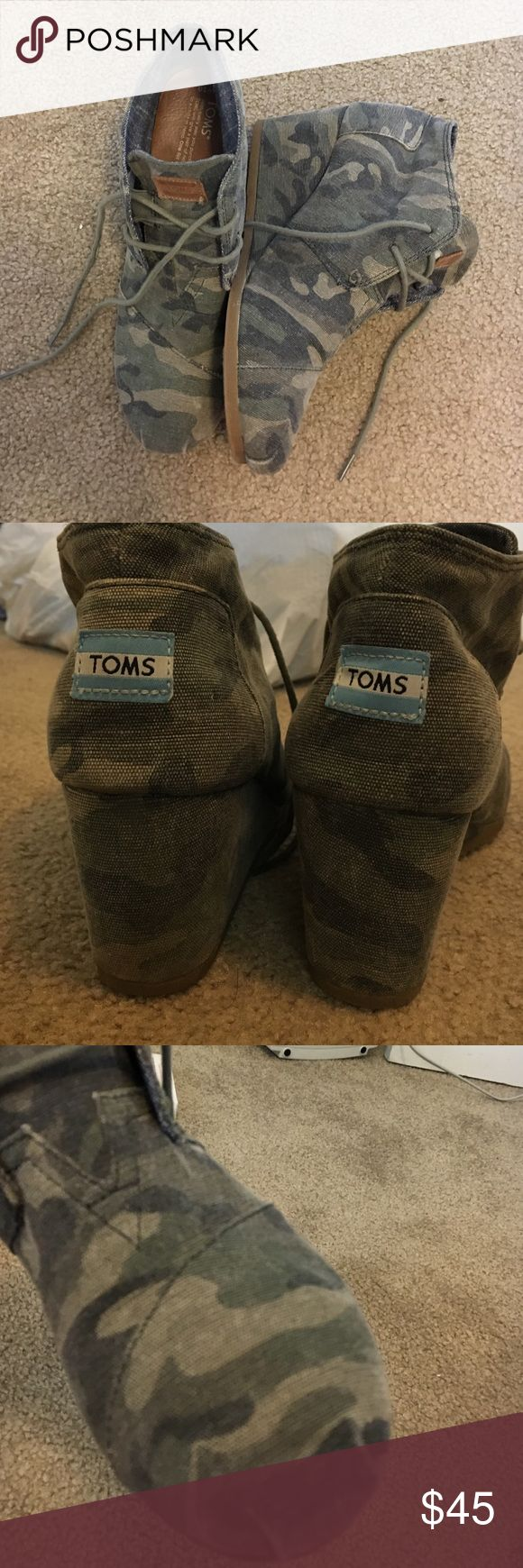 Toms Camo Wedge booties These wedges are in great condition! I've only worn them a few times! I just don't find myself taking them out of the closet as often as I do I with other shoes. These go great with dresses and skinny jeans:) TOMS Shoes Wedges