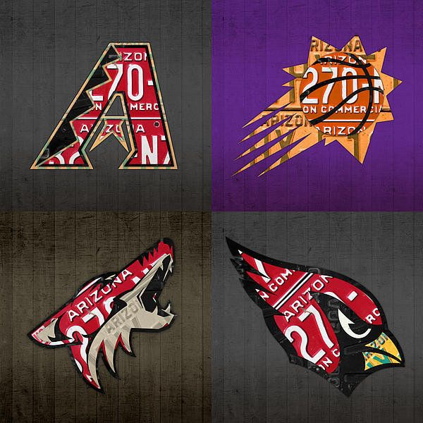 Phoenix Sports Fan Recycled Vintage Arizona License Plate Art Diamondbacks Suns Coyotes Cardinals Print By Design Turnpike