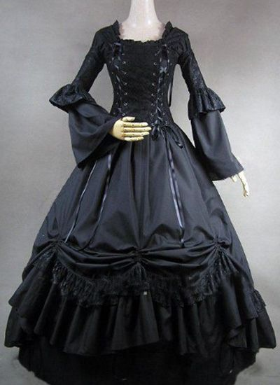 Long Sleeves Ball Gown Black Gothic Victorian Dress