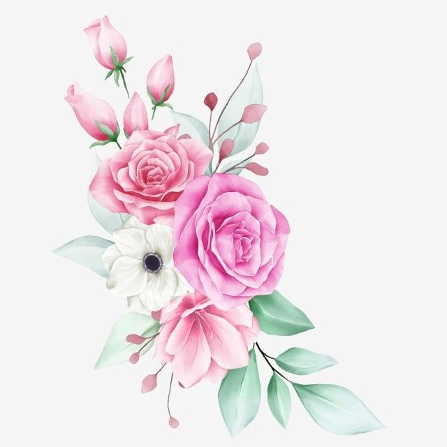 Beautiful Floral Arrangement With Various Flowers Flowers Invite Template Png And Vector With Transparent Background For Free Download Watercolor Flowers Flower Graphic Design Floral Painting