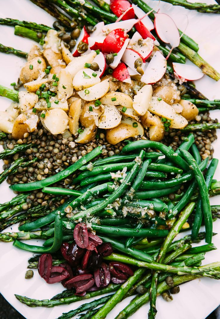 grilled asparagus and french lentil niçoise salad. Plenty of plant protein in this meal to keep you full. God bless the greens.