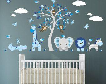 Etiqueta de Safari guardería azul y gris selva muchachos
