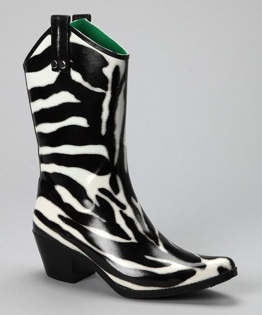 WOW, never seen rain boots like this!!!!! Take a look at this Zebra Cowboy Rain Boot by Smoky Mountain Boots on #zulily today!