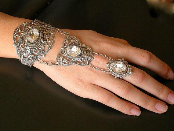 Romantic Silver Slave Bracelet -  Victorian Swarovski Crystal  Bracelet  - Wedding Bridal Jewelry on Etsy, $190.65