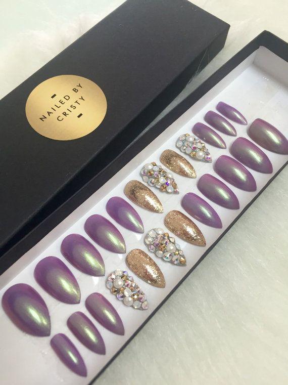 Purple Opalescent Stiletto Press On Nails by NailedByCristy