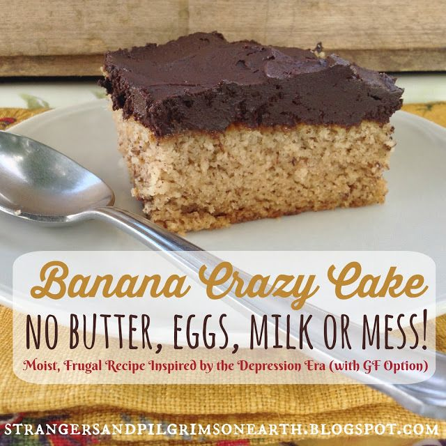 Banana Crazy Cake (No Butter, Eggs, Milk or Mess) ~ Inspired by the Depression Era Recipe (aka Wacky Cake) w/ GF Option