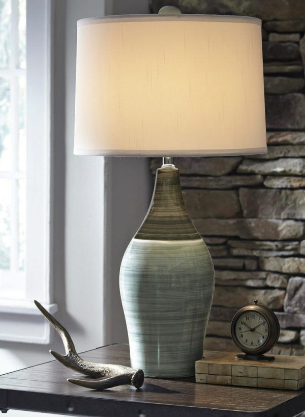 Niobe Gray Blue Ceramic Table Lamp Set Is A Set Of Two Contemporary