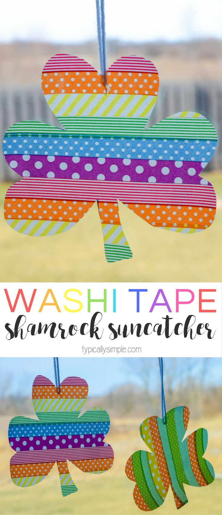 These washi tape shamrock suncatchers are a super easy craft to make with the kids for St. Patrick's Day. And they are perfect for adding a rainbow of colors to your windows!