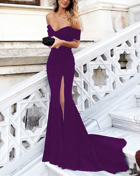 8afc641985b2 Purple Jersey Long V-neck Mermaid Prom Dresses Off The Shoulder Evening  Gowns With Split P1954