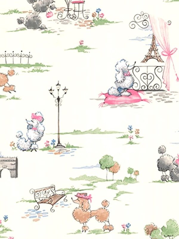 Poodle wallpaper for the office area!
