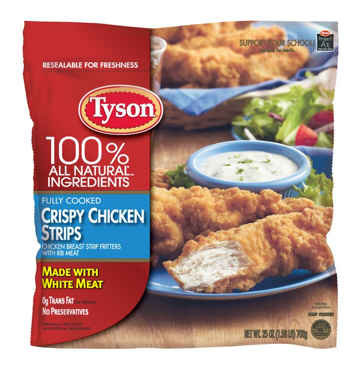 Tyson Crispy Chicken Breast Strips are made with 100% all natural* ingredients and are fully cooked for easy preparation. They're perfect as a family meal or as part of a party spread. Give them a try, and your family will thank you.   *Minimally processed. No artificial ingredients.