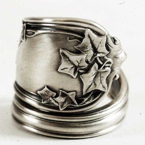Organic Ivy Sterling Silver Victorian Spoon Ring with Ivy Leaves, Handmade & Adjustable to Your Size (3243)