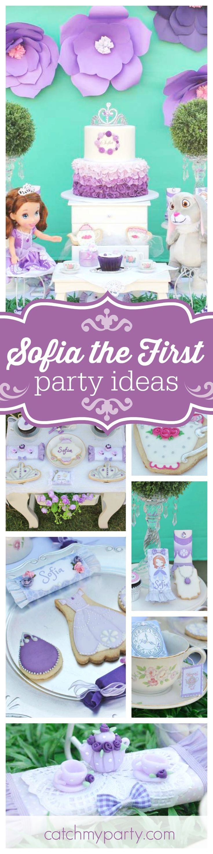 Be enchanted with this fabulous Sofia the First birthday party. Love the floral backdrop! See more party ideas and share yours at CatchMyParty.com