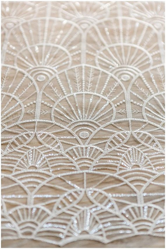 Soft geometric sequin lace wedding lace fabric bridal lace