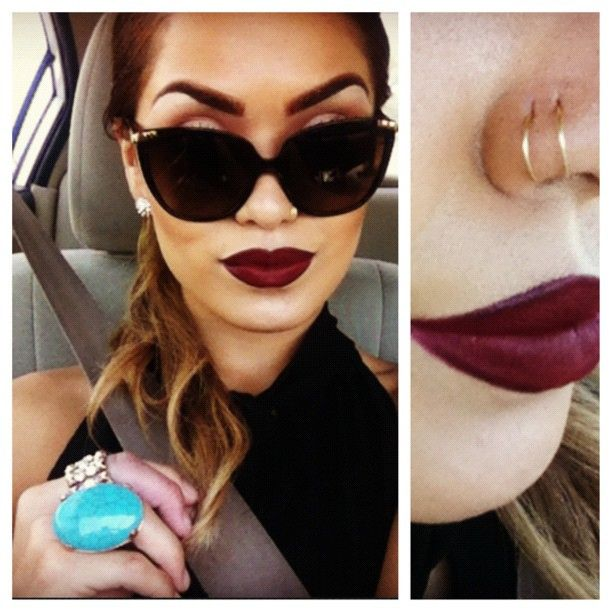 Want a deep red/wine colored lipstick like this! & I'm loving the double loop nose rings. (Instagram: @Karen Jacot Gonzalez)