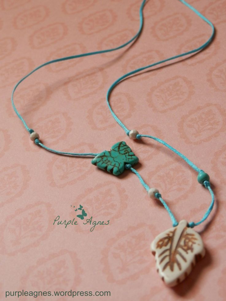 Bohemian Jewelry, Leaf Pendant, with Little Turquoise Butterfly Accessory