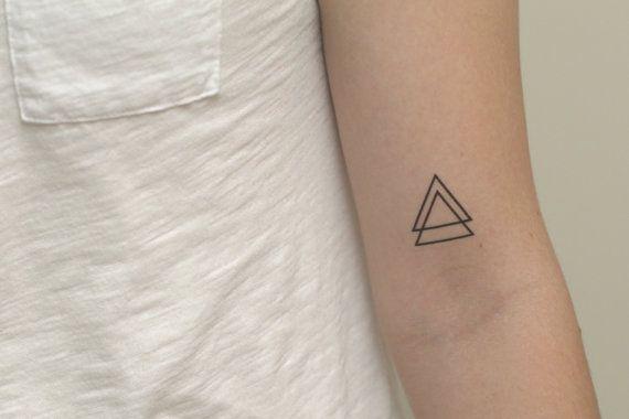 Temporary Tattoo Doppio Triangolo di FleetingInk su Etsy