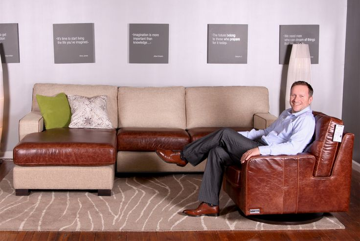 NEW Chloe in leather/fabric combo with Designer James Culleton. His shoes match perfectly with the sectional!