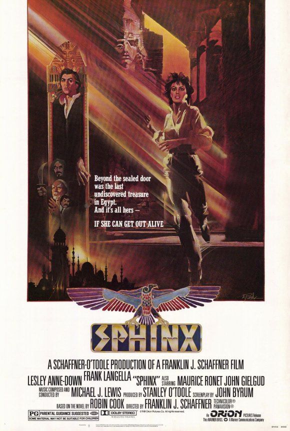 Sphinx , starring Lesley-Anne Down, Frank Langella, Maurice Ronet, John Gielgud. Egyptologist Erica Baron finds more than she bargained for during her long-planned trip to The Land of the Pharoahs - murder, theft, betrayal, love, and a mummy's curse! #Adventure #Mystery #Thriller
