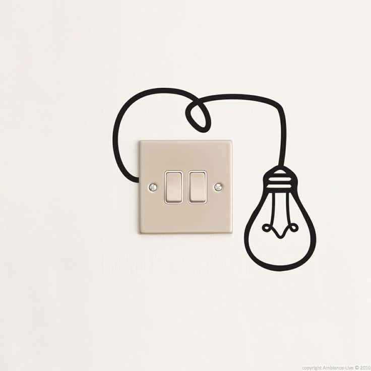 Stickers muraux pour prises - Sticker mural ampoule | Ambiance-live.com