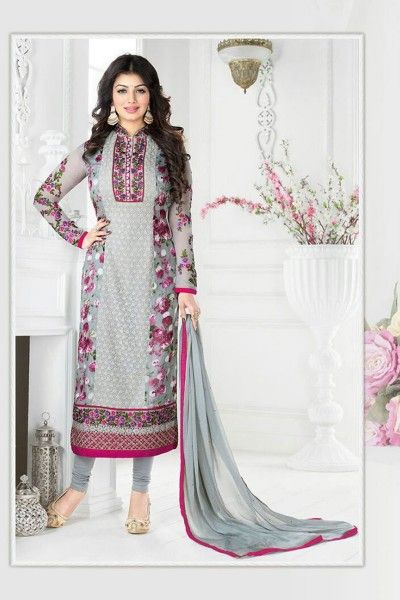 THANKAR GREY EMBROIDERED GEORGETTE STRAIGHT SUIT