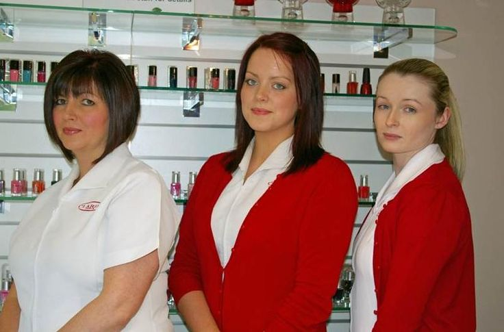 clarins staff, very professional looking uniform, hair tied back - employee uniform form