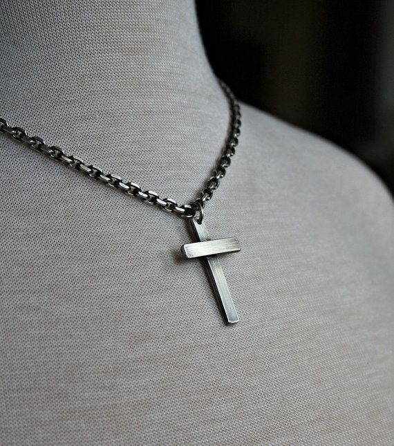 Mens Silver Cross Necklace Mens Chain Necklace by LynnToddDesigns