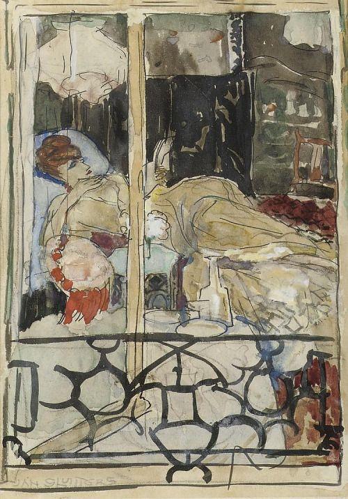 """""""A Woman Reading - Jan Sluijters , c.1910 Dutch 1881-1957 pencil, chalk, ink, watercolour and gouache on paper , 180 x 125 mm """""""