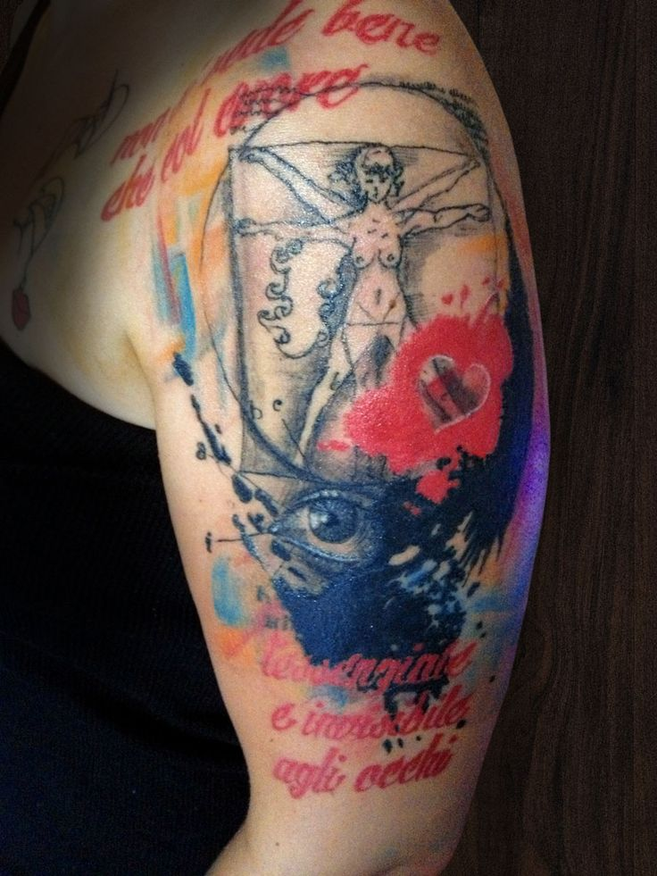Masonry Cartel Trash Polka multicolour half sleeve tattoo