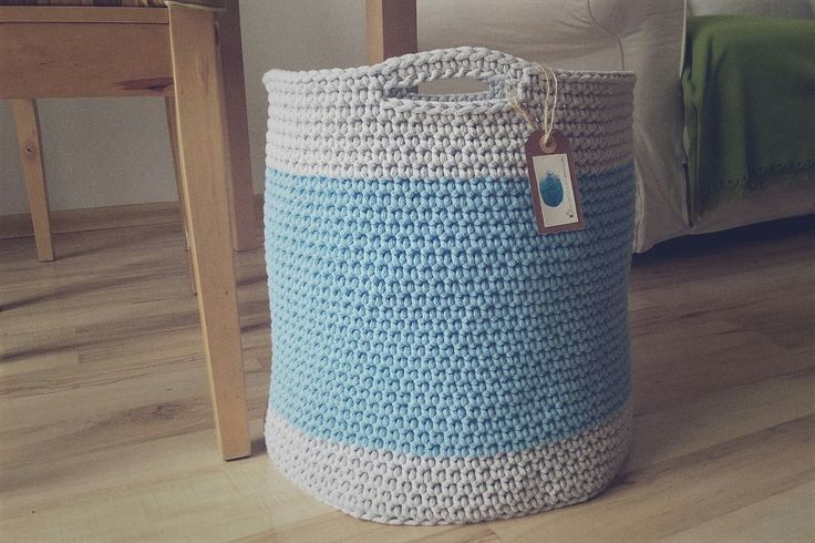 Handmade crochet big basket / duży kosz szydełkowy / kosz na zabawki na szydełku / kosz ze sznurka bawełnianego