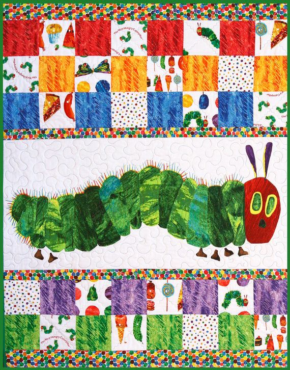 Very Hungry Caterpillar, Baby Quilt, Toddler Blanket, Made in USA, 100 Percent Cotton