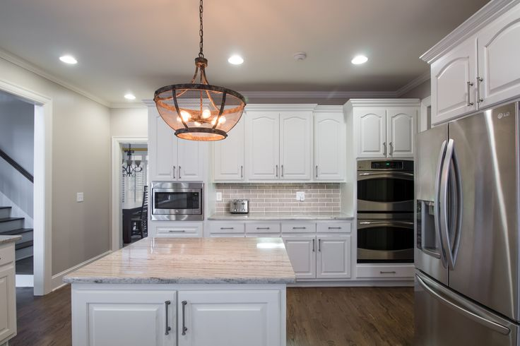 Off White Kitchen With Granite Countertops Brushed Nickel