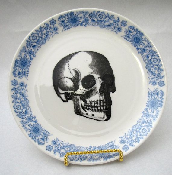 Vintage Blue Skull Plate vintage wall plate home decor altered vintage Royal Blue: Vintage Wall, Vintage Blue, Skull Plates, Decor Altered, Royals Blue, Altered Vintage, Plates Vintage, Blue Skull, Vintage Royals