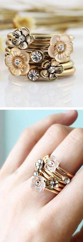Floral Stacking Ring Set ♥