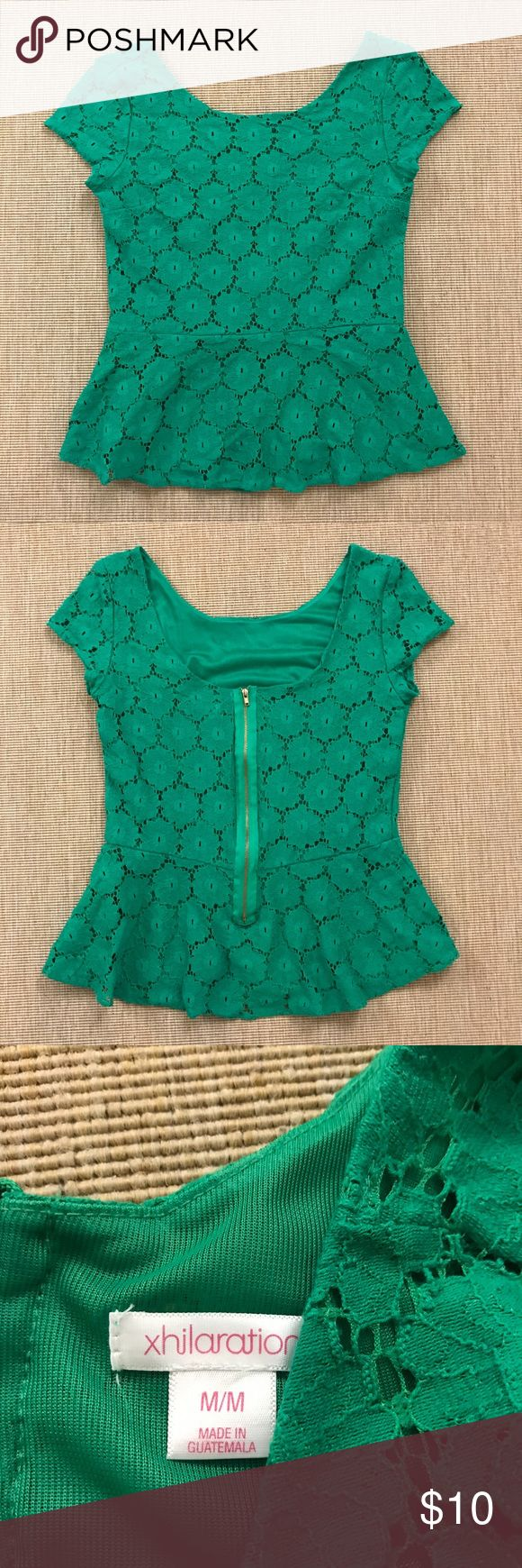Xhiliration Emerald Green Lace Peplum Top M New! Adorable Xhiliration Emerald Green Lace Peplum Top- size M. Exposed Zip detail at back. Fully lined. Brand new. Xhilaration Tops Blouses