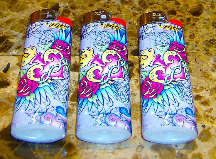 lot of 3 bic flick my bic heart rose tattoo full size lighters new 777 usd i. Black Bedroom Furniture Sets. Home Design Ideas