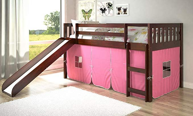 Donco Kids Twin Mission Pink Tent Loft Bed With Slide Review Bed