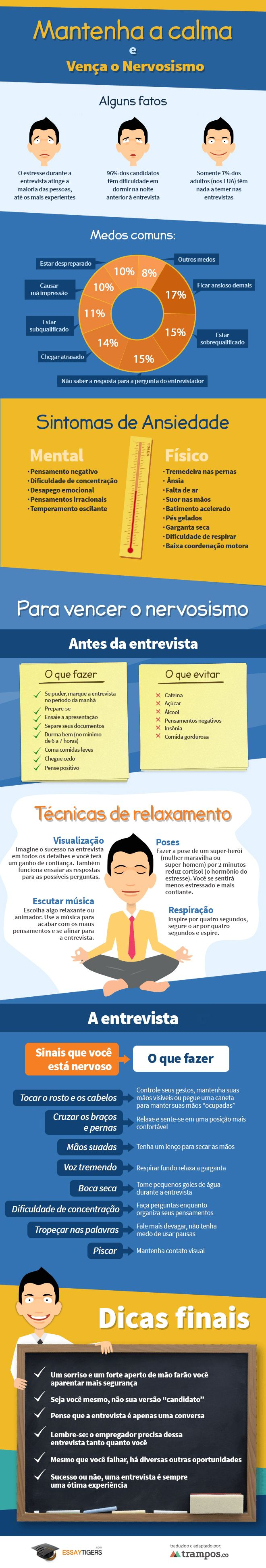 Infográfico: como acalmar os nervos para uma entrevista.