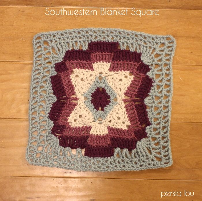 http://www.persialou.com/2014/11/tribal-inspired-afghan-square-pattern.html Southwestern Blanket Square Pattern by Persia Lou