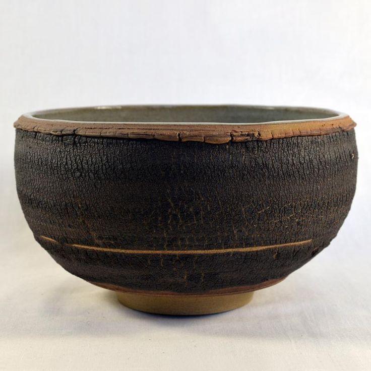 Bol artisanat d'art, fait main, grès de Treigny, tournée, engobé, repoussé, intérieur émaillé
