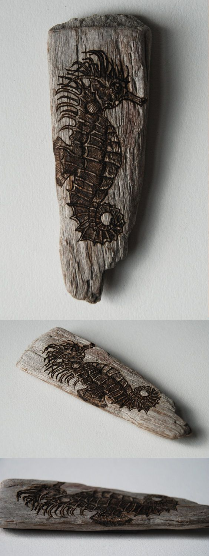 Woodburned Driftwood Magnet - Seahorse by Trevor Moody of Dirigo Craft & Supply Co.