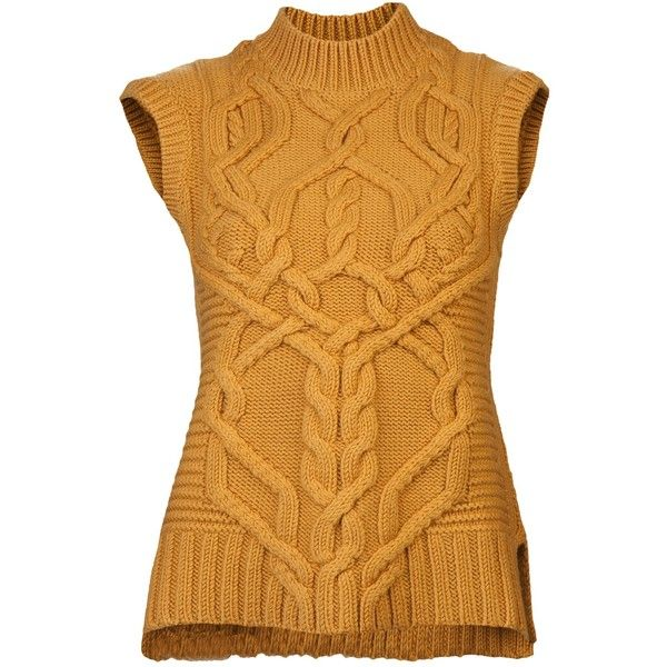 The rich mustard hue of Derek Lam's Knit Sweater Vest ($890) is | 8... ❤ liked on Polyvore featuring tops