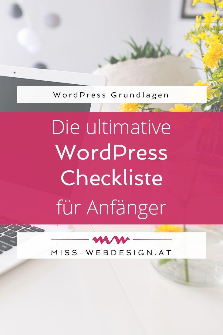Die ultimative WordPress Checkliste für Anfänger   www.miss-webdesign.at #wordpress #tutorial #anfänger #checkliste