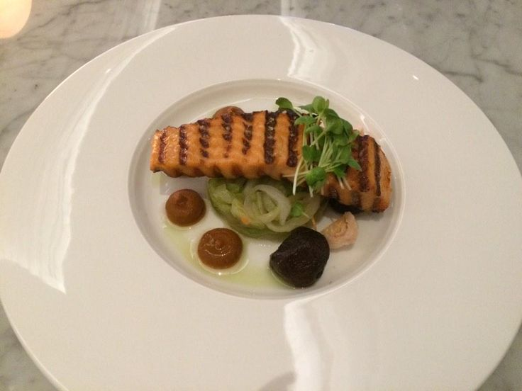 "From @Ali_Hawkins ""It gets better ... Chargrilled Salmon with cucumber kimchi, lychee, shiitake, chili relish - Chameleon @InterConWLG"""