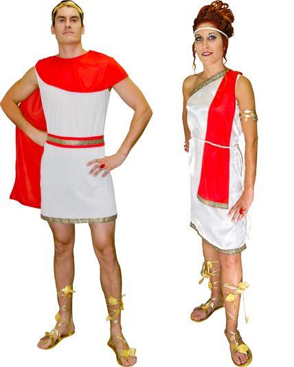 Deguisement de romain et de romaine en couple en vente chez Ledeguisement.com