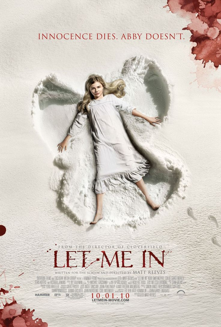 Let Me In , starring Kodi Smit-McPhee, Chloë Grace Moretz, Richard Jenkins, Cara Buono. A bullied young boy befriends a young female vampire who lives in secrecy with her guardian. #Drama #Horror #Mystery