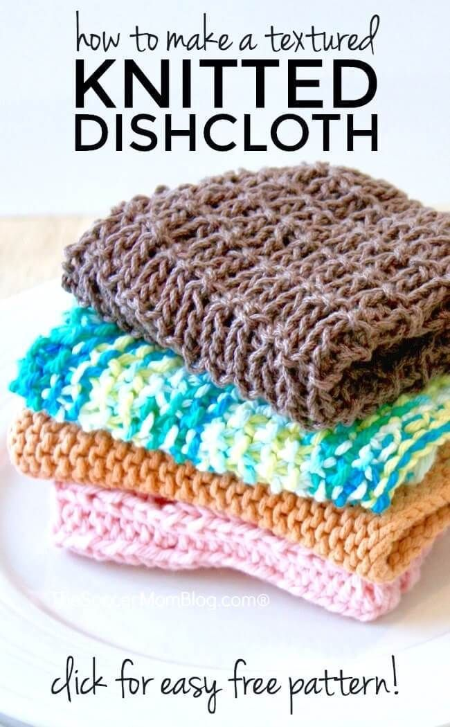 Super Easy Knitted Dishcloth With Free Pattern So You Think You